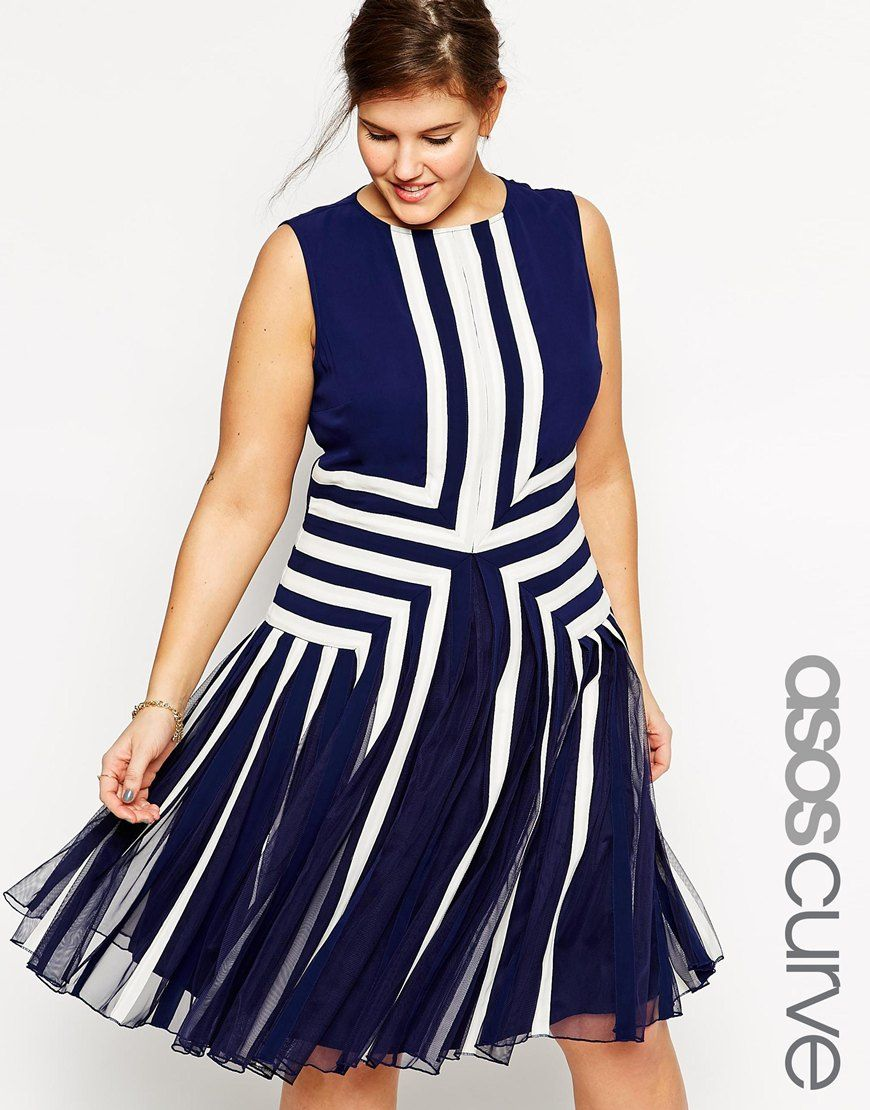 CURVE Premium Placed Nautical Mesh Insert Dress | Plus Size ...