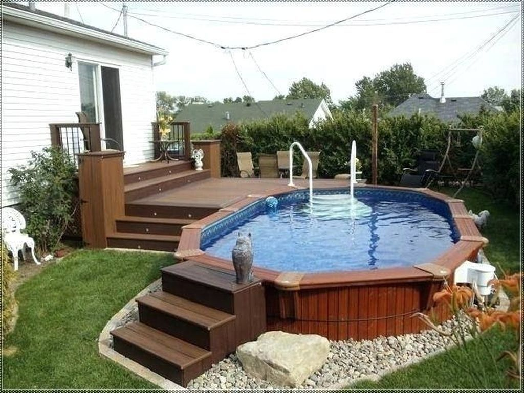 48 The Best Ground Pool Ideas You Never Seen Before Sweetyhomee Pool Deck Plans Best Above Ground Pool In Ground Pools Backyard landscaping ideas with above ground pool