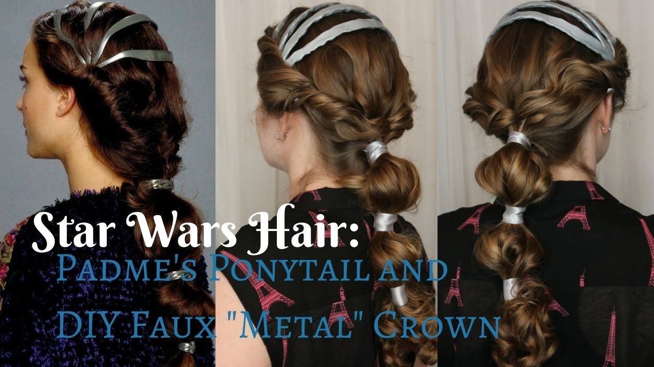 Star Wars Inspired Padme S Ponytail Diy Faux Metal Crown Star Wars Hair Diy Ponytail Hair Styles