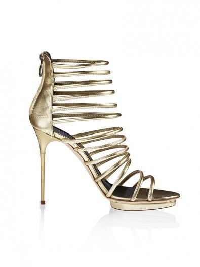 GOLD CAGED HEELS Strappy leather Sandals in metallic gold leather, skinny piped leather straps, round toe, back-zip closure and gold leather heel. Heel measures approximately 110mm with 10mm/platform - Italian sizing ITALIAN SIZE:   SIZE GUIDE #onlinestore #onlineshop #lookbook #fw15 #aw15