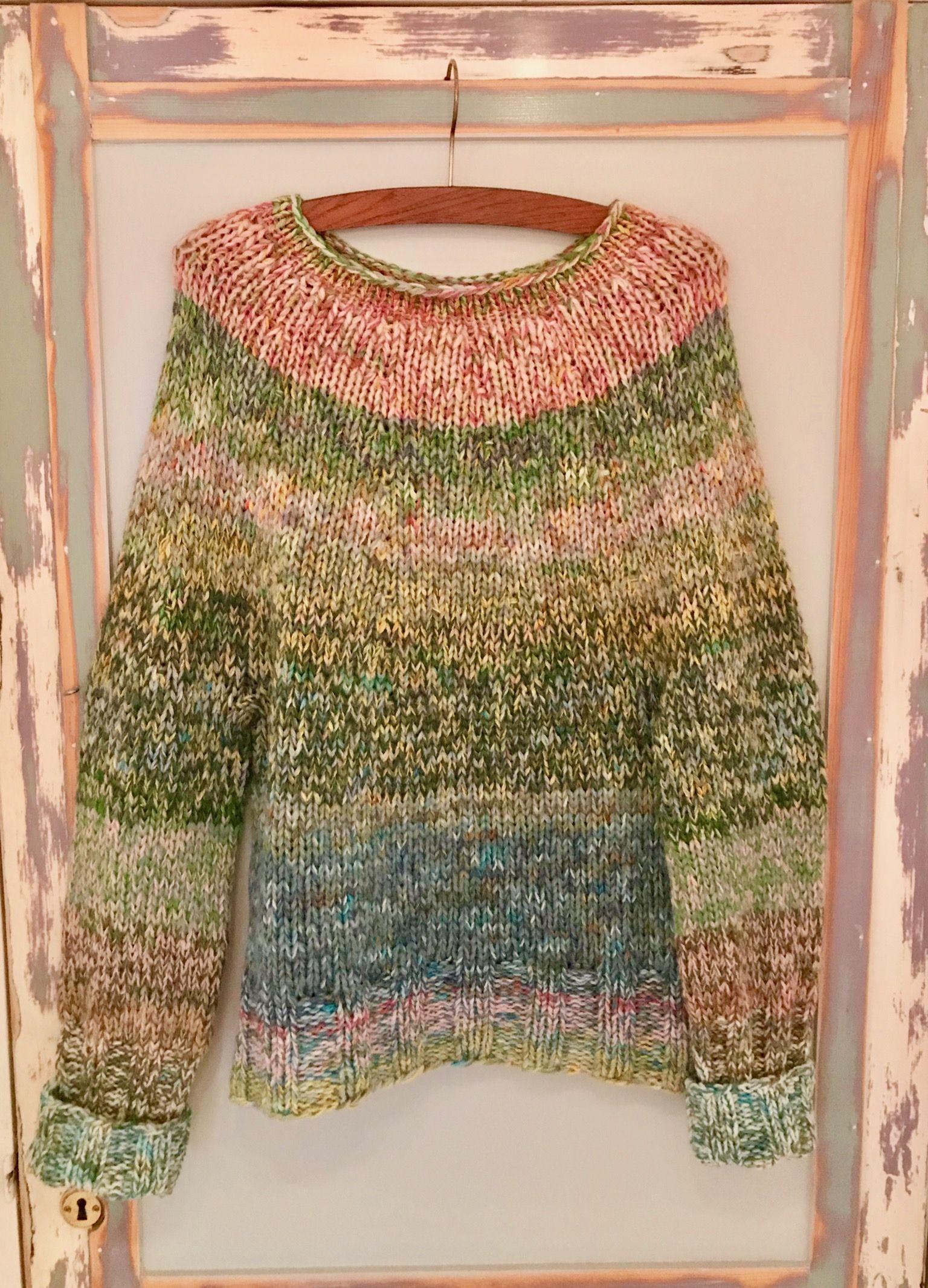 fefa6574 Tyk sweater i restegarner, uld, mohair, silke pinde 10, begyndt oppefra.