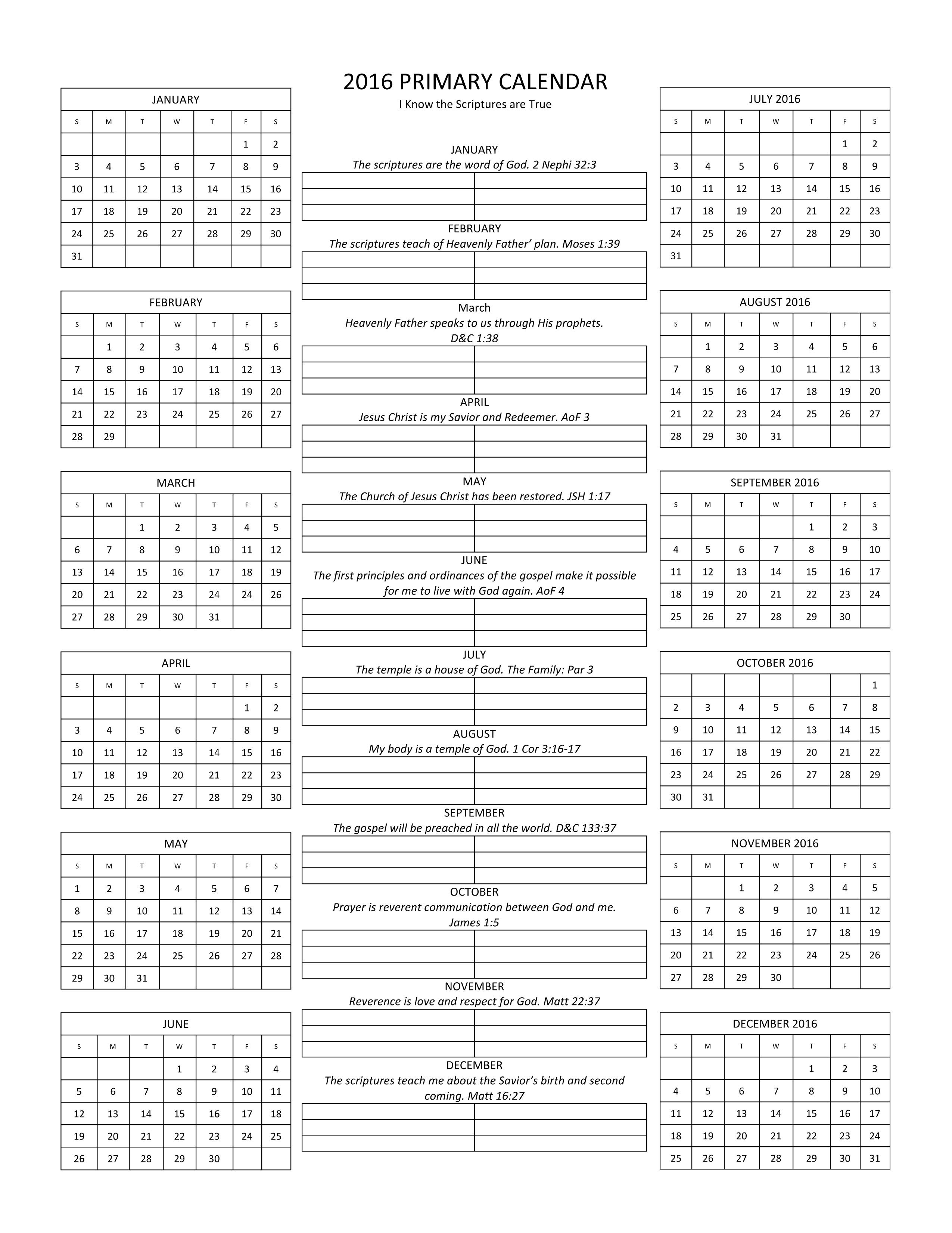 Easy One Page Planning Calendar Including Primary