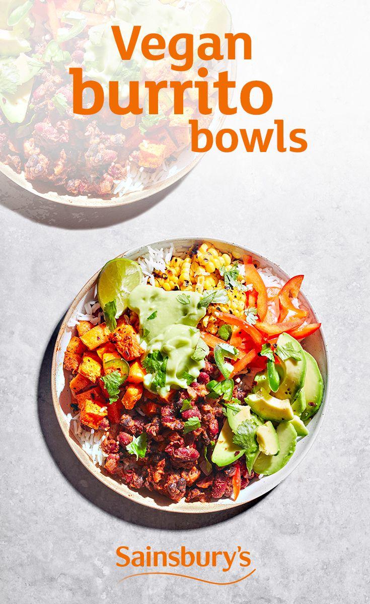 Vegan Burrito Bowls With Avocado And Refried Beans