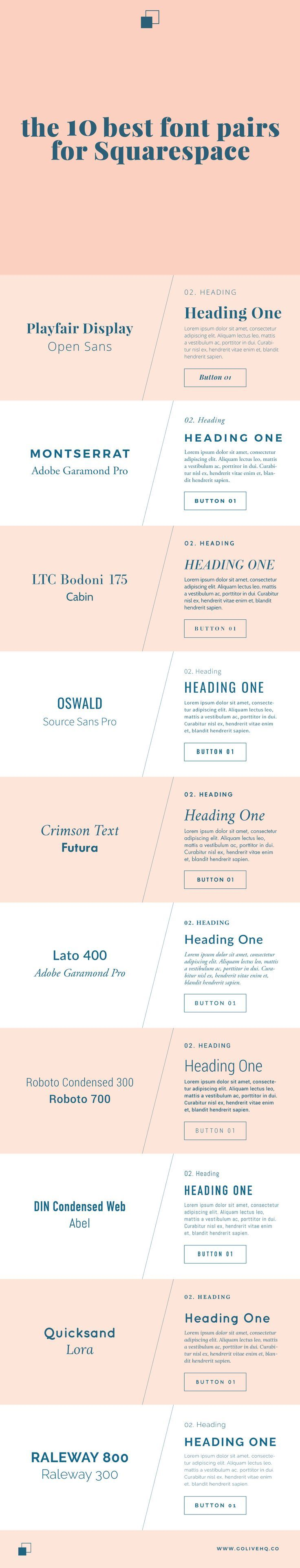 10 best font pairs for Squarespace.