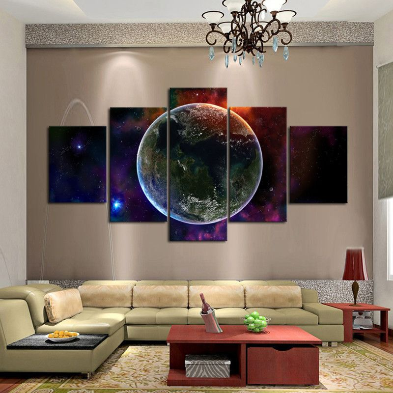 Etonnant Fantasy Universe Wall Art Unique 5 Panels Wall Painting For Living Room  Printed On Canvas Free