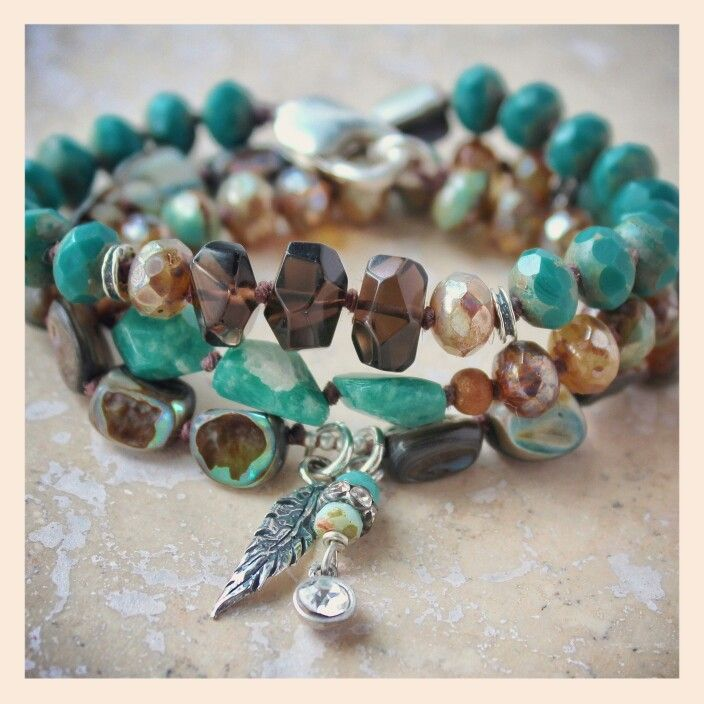 Boho chic wrap bracelet (link below), with peruvian amazonite, smoky quartz, sterling silver accents, calsp and charms, rustic abalone nuggets, and premium crystal. Can also be worn as a necklace. Only available @ www.brassrabbitstudio.com come see what you've been missing! #boho #jewelry #wrap #bracelet #handmade #sundance #brassrabbitstudio #beachy #turquoise