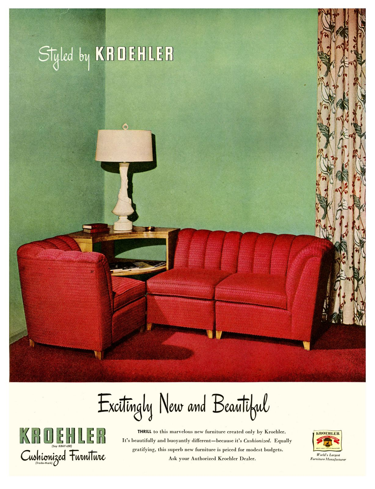 1947 Cushionized Furniture By Kroehler Furniture Prices Mid