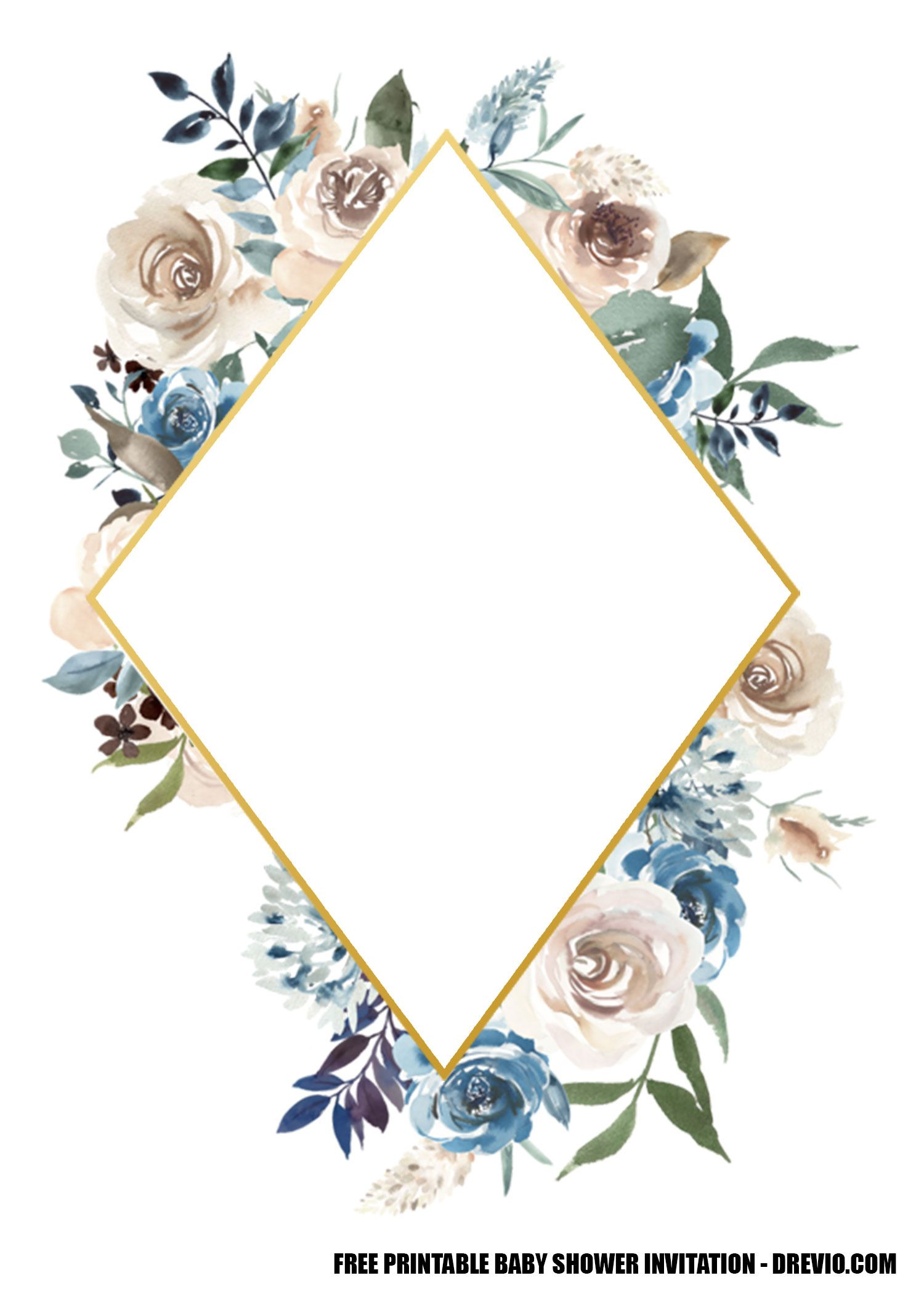 12 Free Blue Floral Gold Invitation Templates Downloadable Drevio Gold Invitations Floral Invitations Template Invitation Template