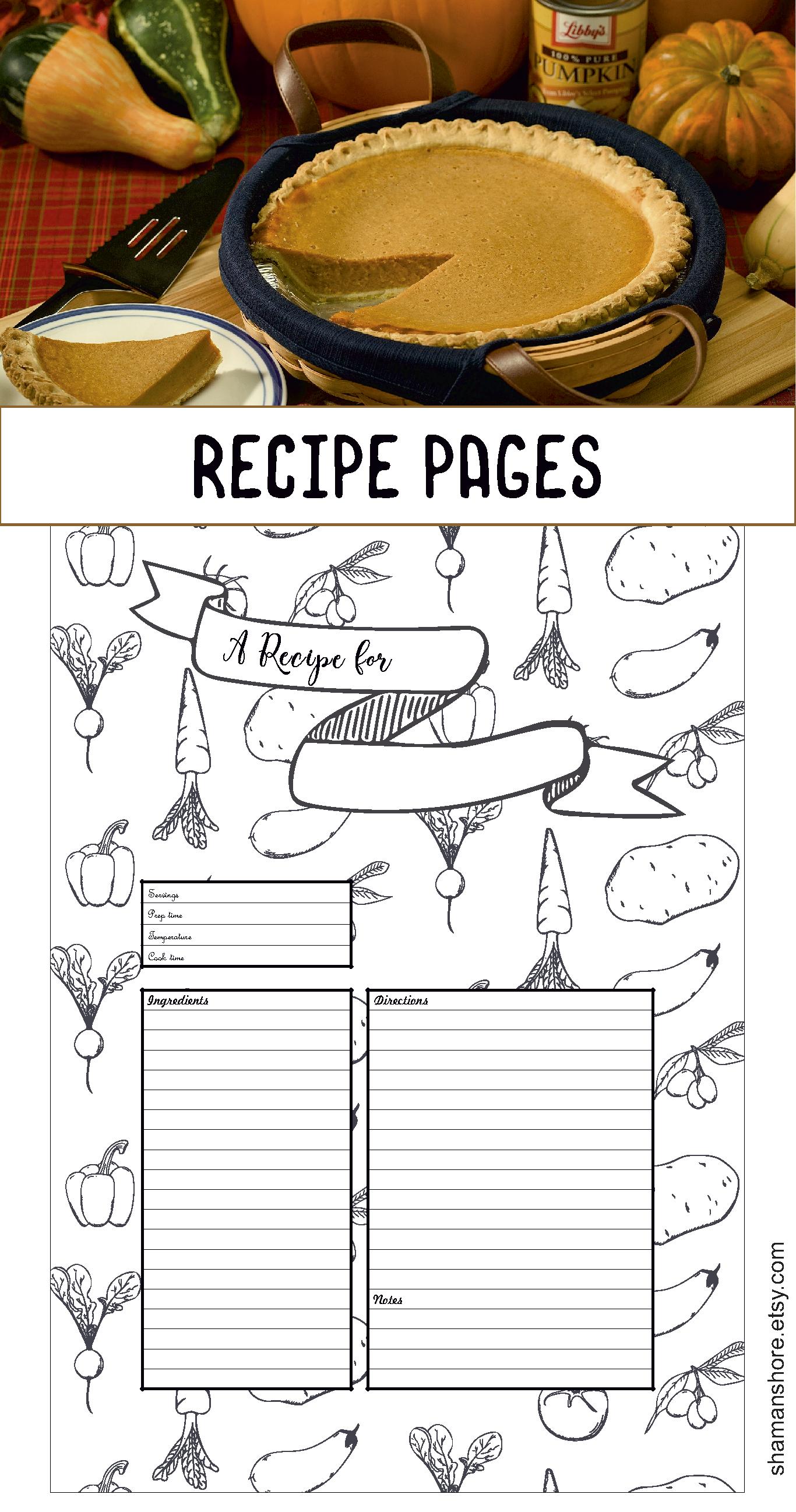 Recipe Template Printable Recipe Pages Layouts Blank Recipe Book Pdf Recipe Cards A4 Recipe Sheets Instant Download Recipe Template Printable Printable Recipe Page Scrapbook Recipe Book