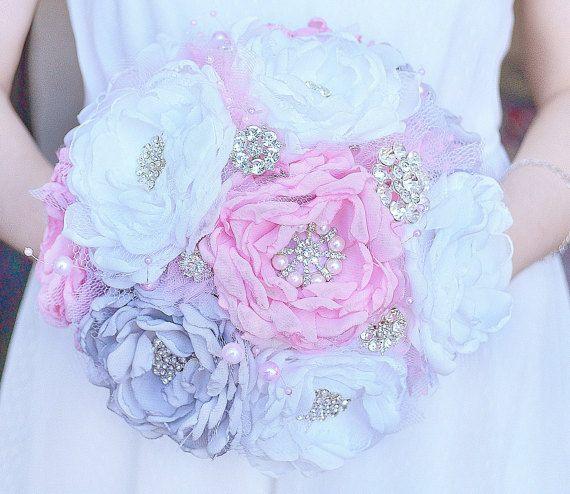 Boda broche Bouquet, Bouquet de tela, ramo de novia, rosa y gris ramo, ramo Vintage.