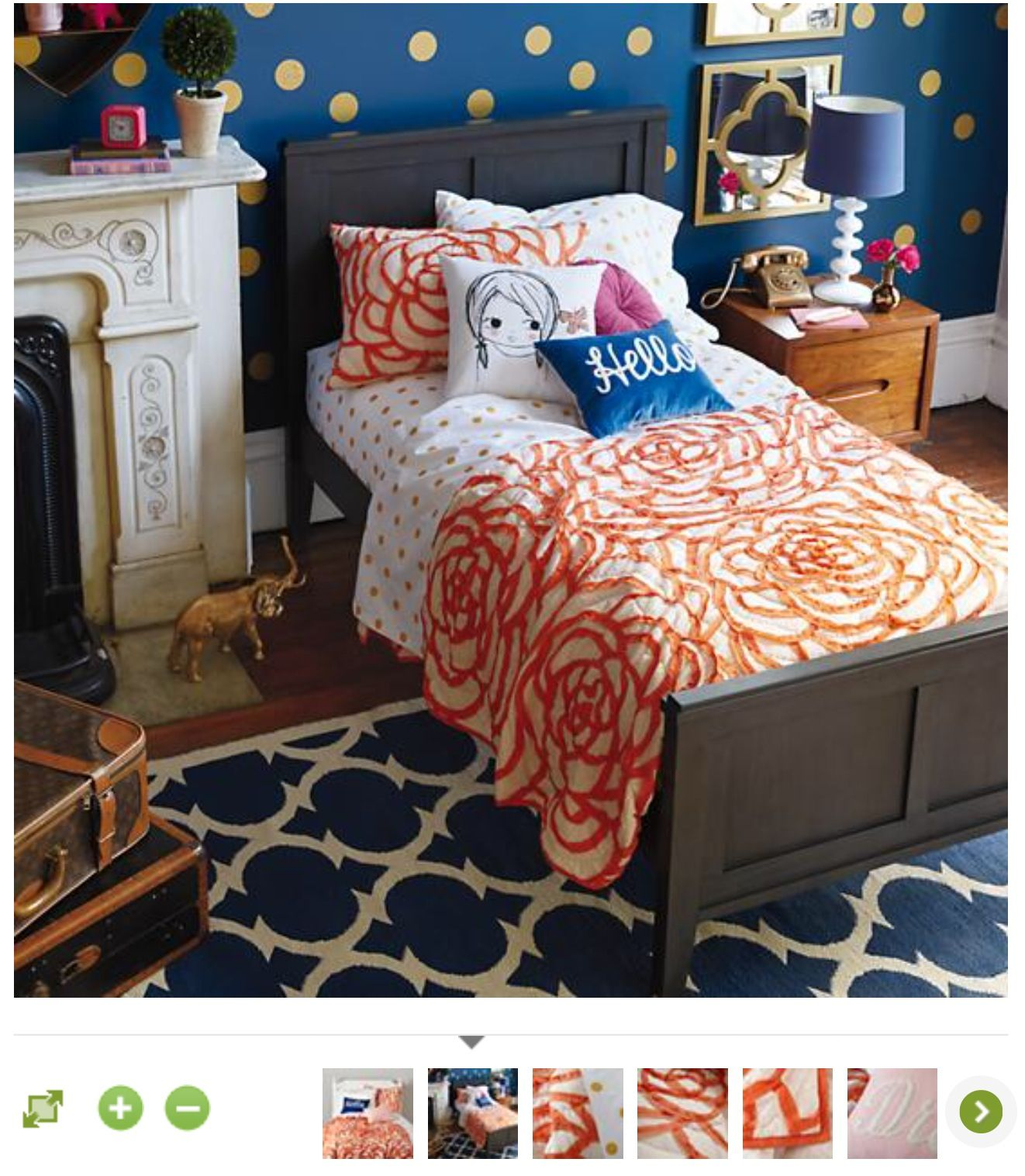 The Land of Nod rose ribbon bedding Girls blue bedroom