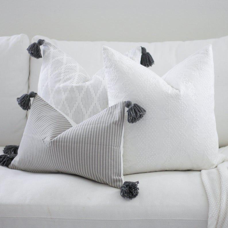 Grey Throw Pillow Boho Diamond Pillow With Dark Grey Tassels Image