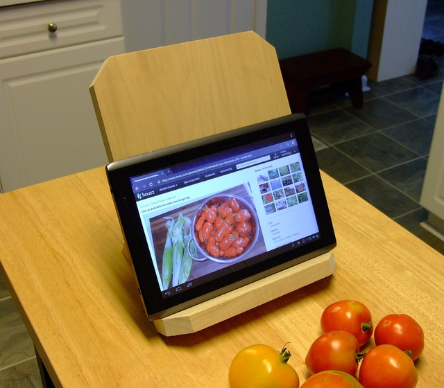 Save your neck from straining with this handy DIY wooden stand for an iPad, a Kindle or a good old-f