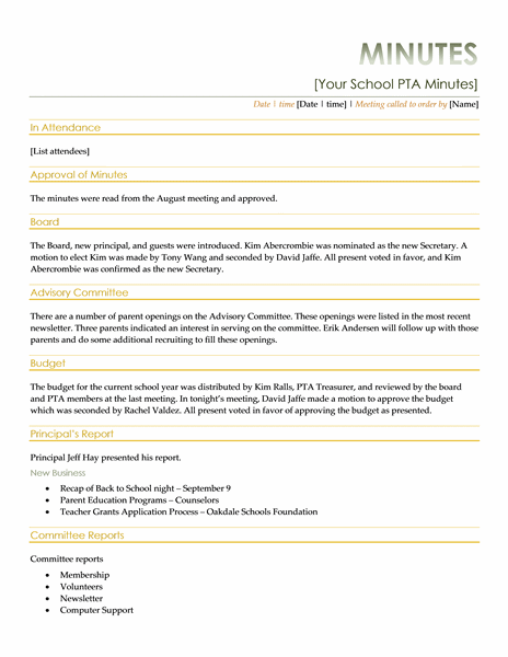 Pta Meeting Minutes Templates Pta Meeting Pta School Pto Meeting