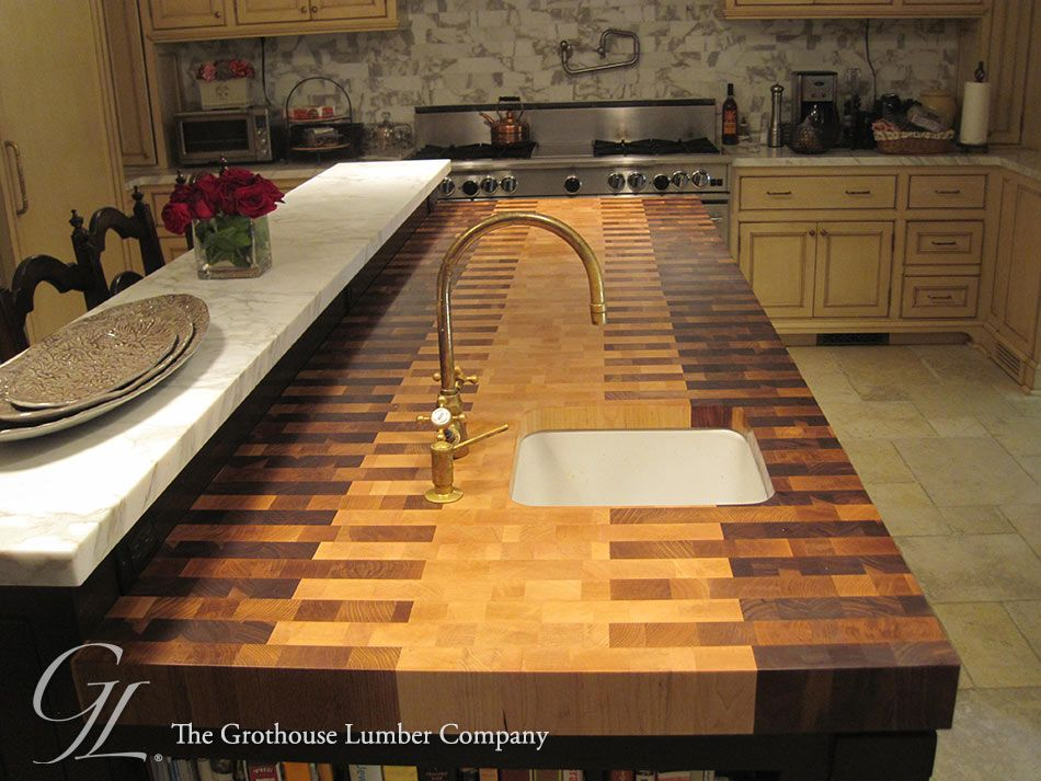 Butcher Block Countertop With An Interlocked Pattern Kitchen