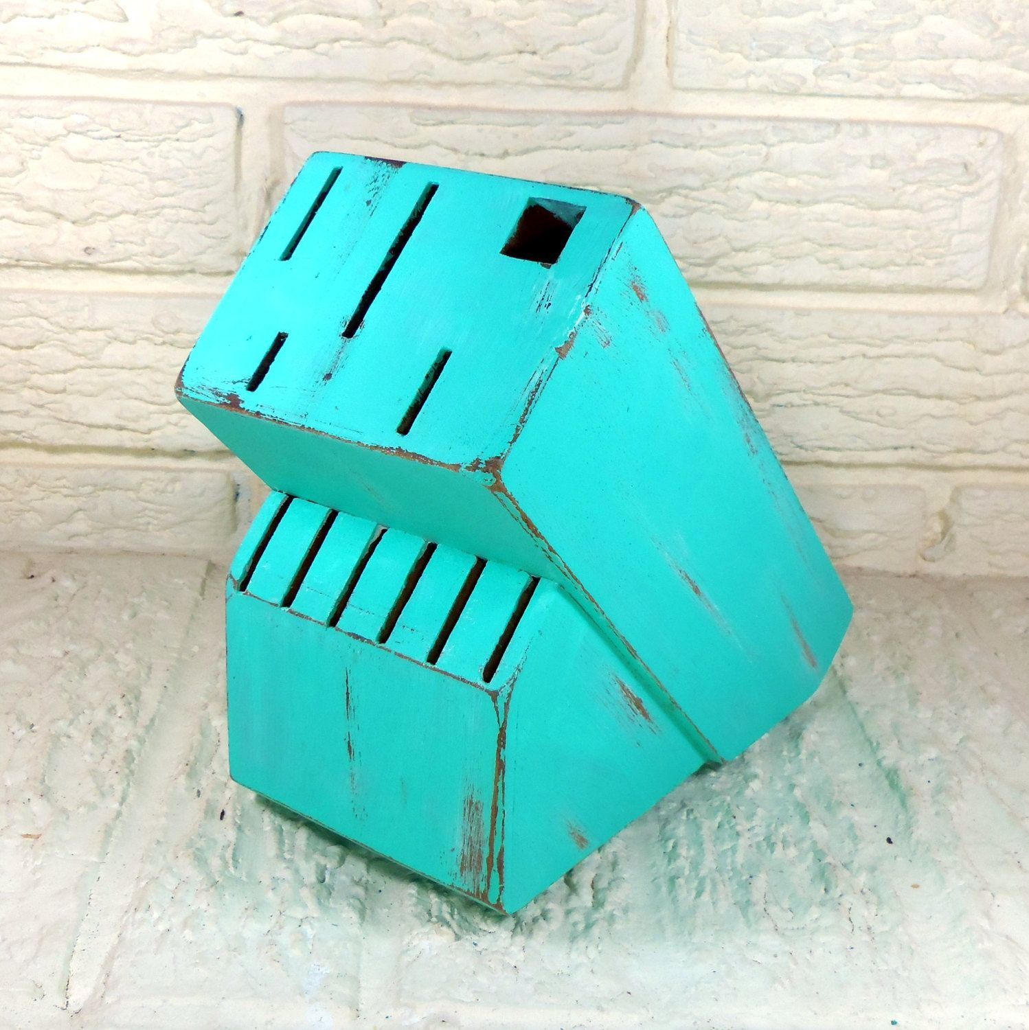 Turquoise Green Wooden Knife Block Shabby Chic Kitchen By Poelia,