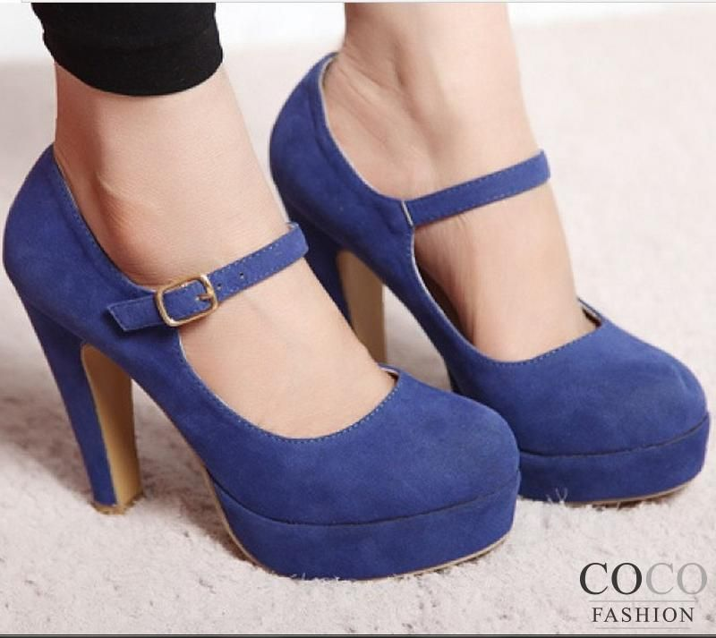 Blue Stylish Suede Structured Platform Heels with Ankle Strap ...