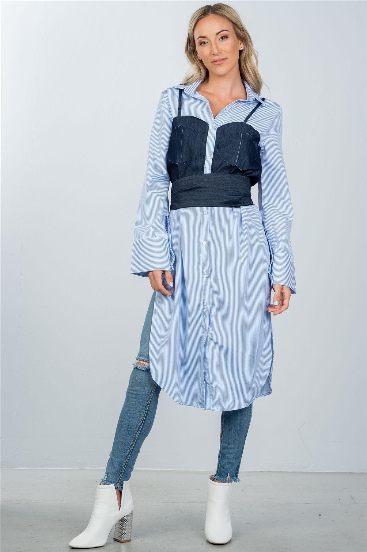 49a2b0763 Ladies fashion denim button down bleach-dye corset shirt – Sassy Gal Fashion