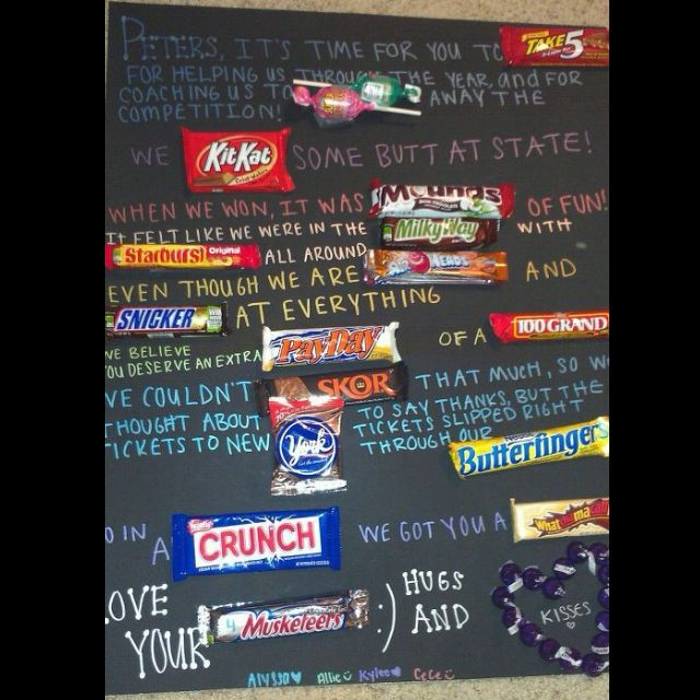 For A Coach Candy Poster Candy Poster Candy Bar Poster Coach Gifts