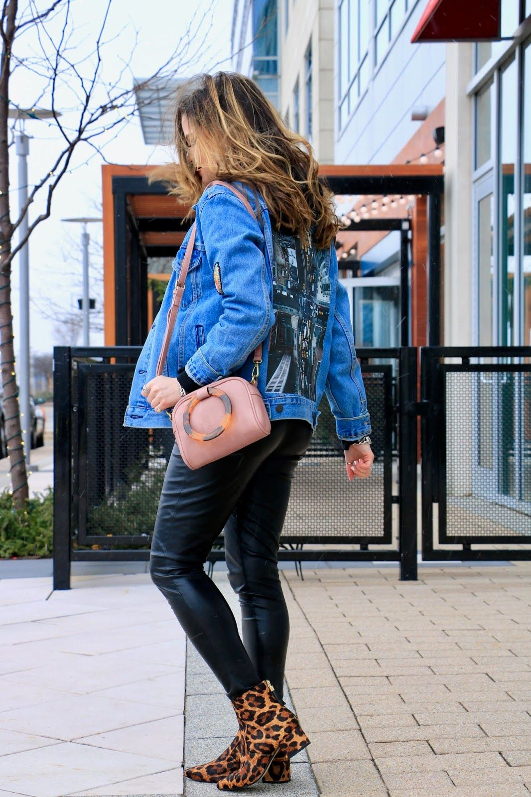 fc66ab806c Denim jacket with leather leggings. Winter Fall outfit.