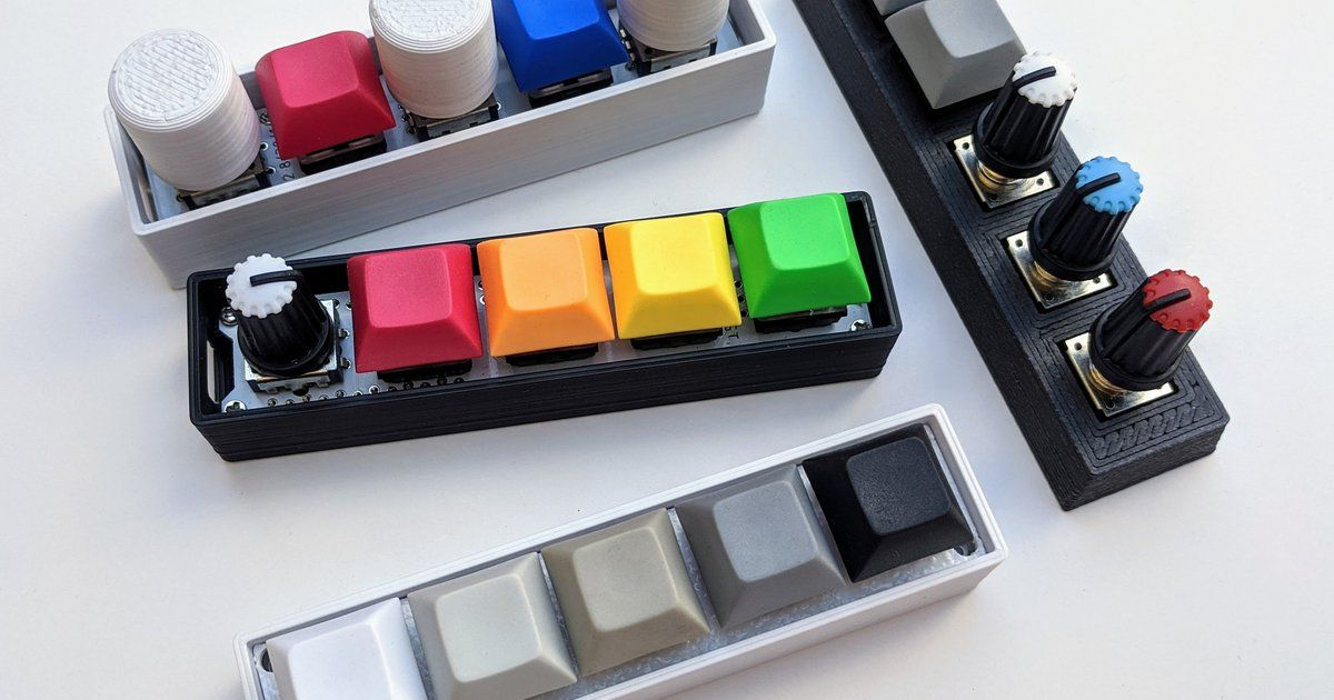QMK/Arduino programmable 5-mechanical switches or rotary encoder RGB keypad/macropad - Great for Photoshop, Lightroom…