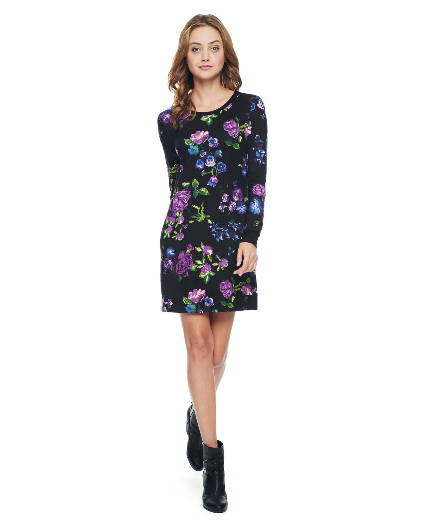 SKETCHED FLORAL JERSEY SHIFT DRESS - Juicy Couture
