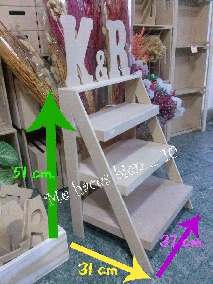 Escalera repisa estantes fibrofacil candy bar decoracion for Repisa escalera
