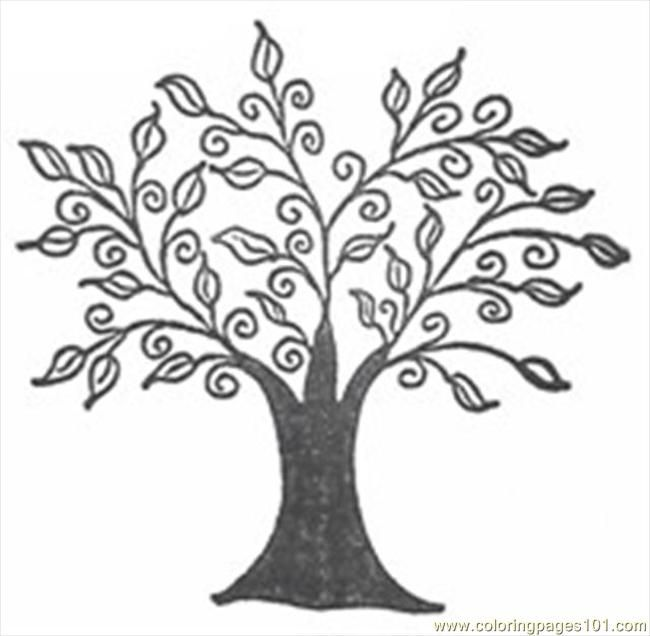 line art drawings of trees free printable coloring page Swirly