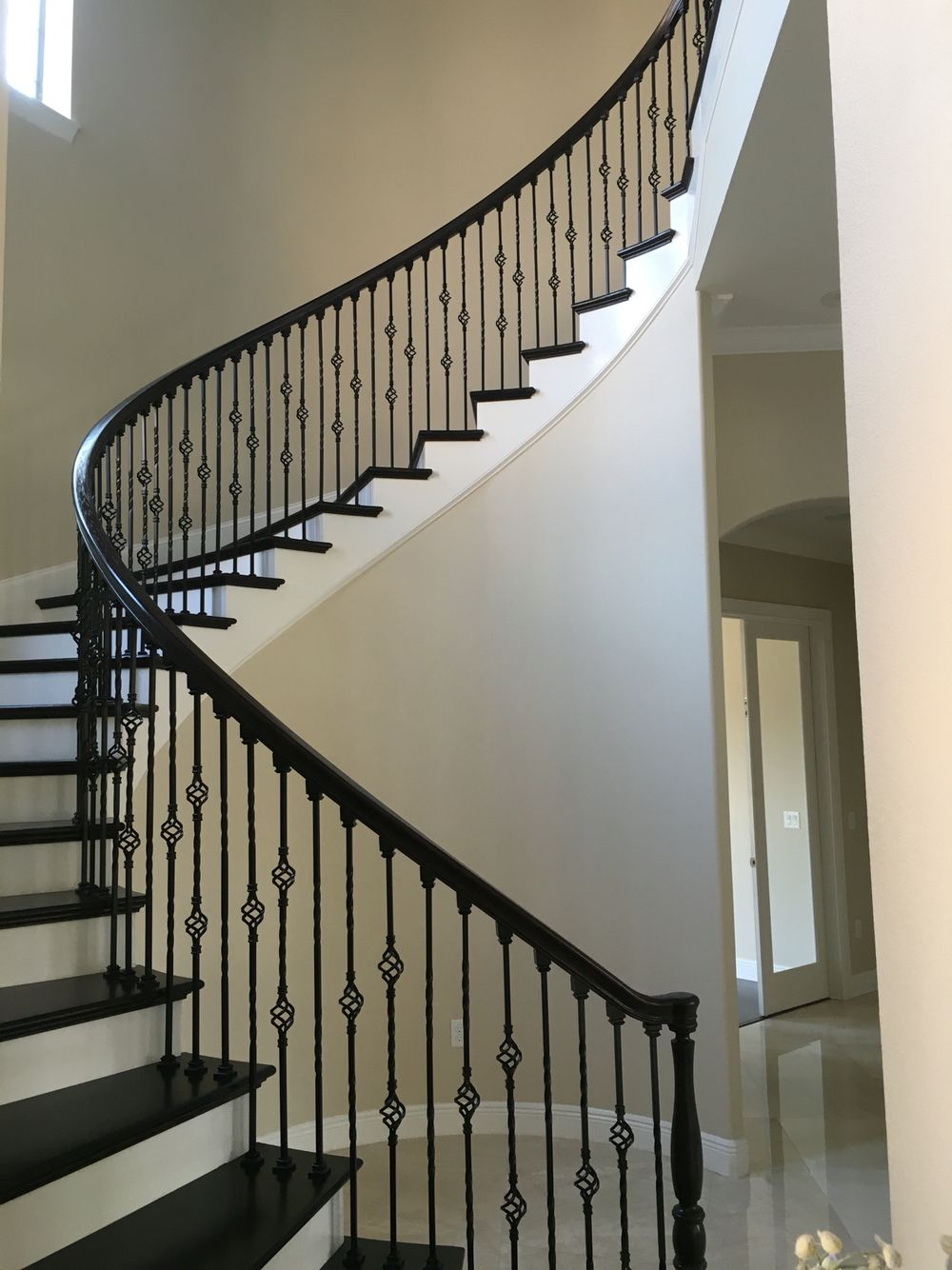 Best Stained Oak Spiral Staircase Wrought Iron Stairs Diy 400 x 300