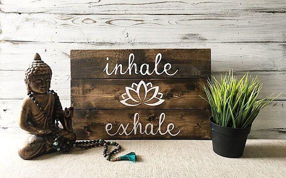 Yoga Quotes Wall Art Inhale Exhale Yoga Studio Decor Decoración Estudio De Yoga Decoración Para Yoga Salas De Yoga