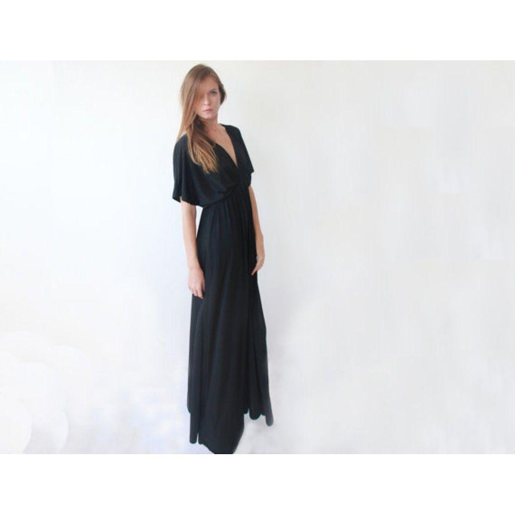 Black maxi dress plus size dress dolman sleeves dress formal