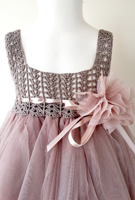 Taupe and Pinky Beige Empire Waist Baby Tulle Dress with Stretch Crochet Top.Tulle dress for girls with lacy crochet bodice