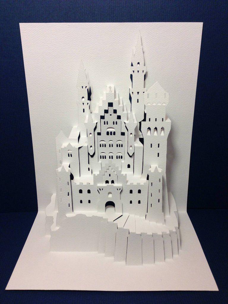 Popup Origamic Architecture Neuschwanstein Castle Pop Up Art Paper Pop Pop Up Cards