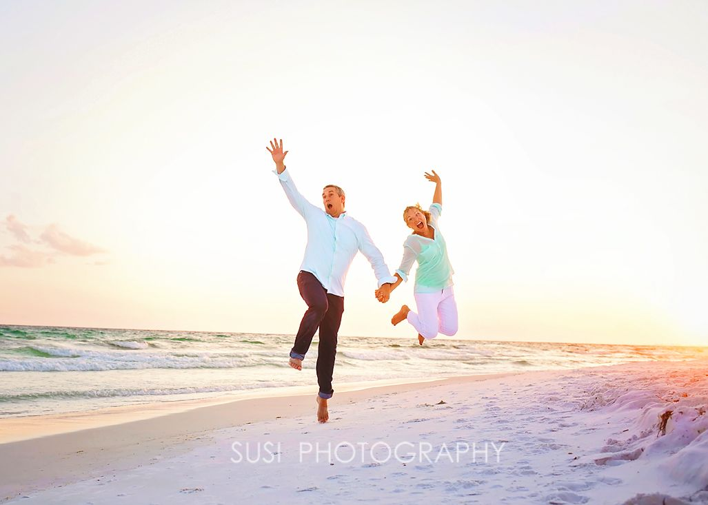 Beach Photography Couple Examples Jumping On The Beach Fun