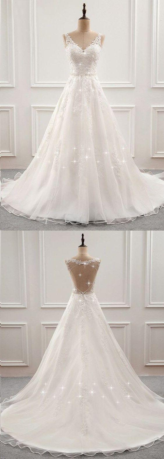 Open back wedding dresses long train romantic appliques simple