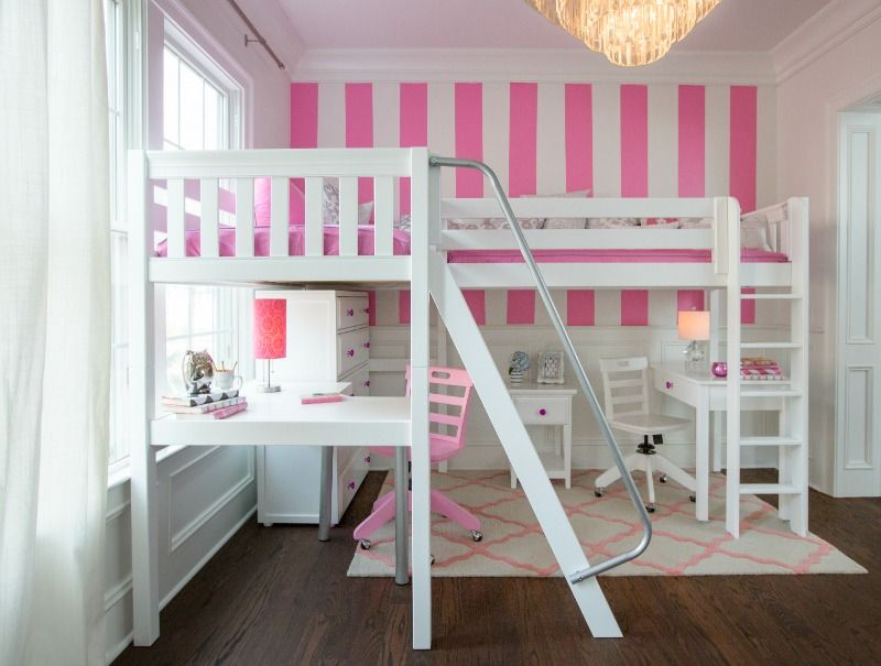 Cool Perfect girl s bedroom idea with high white loft two beds two desks and fun pink accents Shop this look at MaxtrixKids For Your House - Contemporary bed with stairs and desk New Design