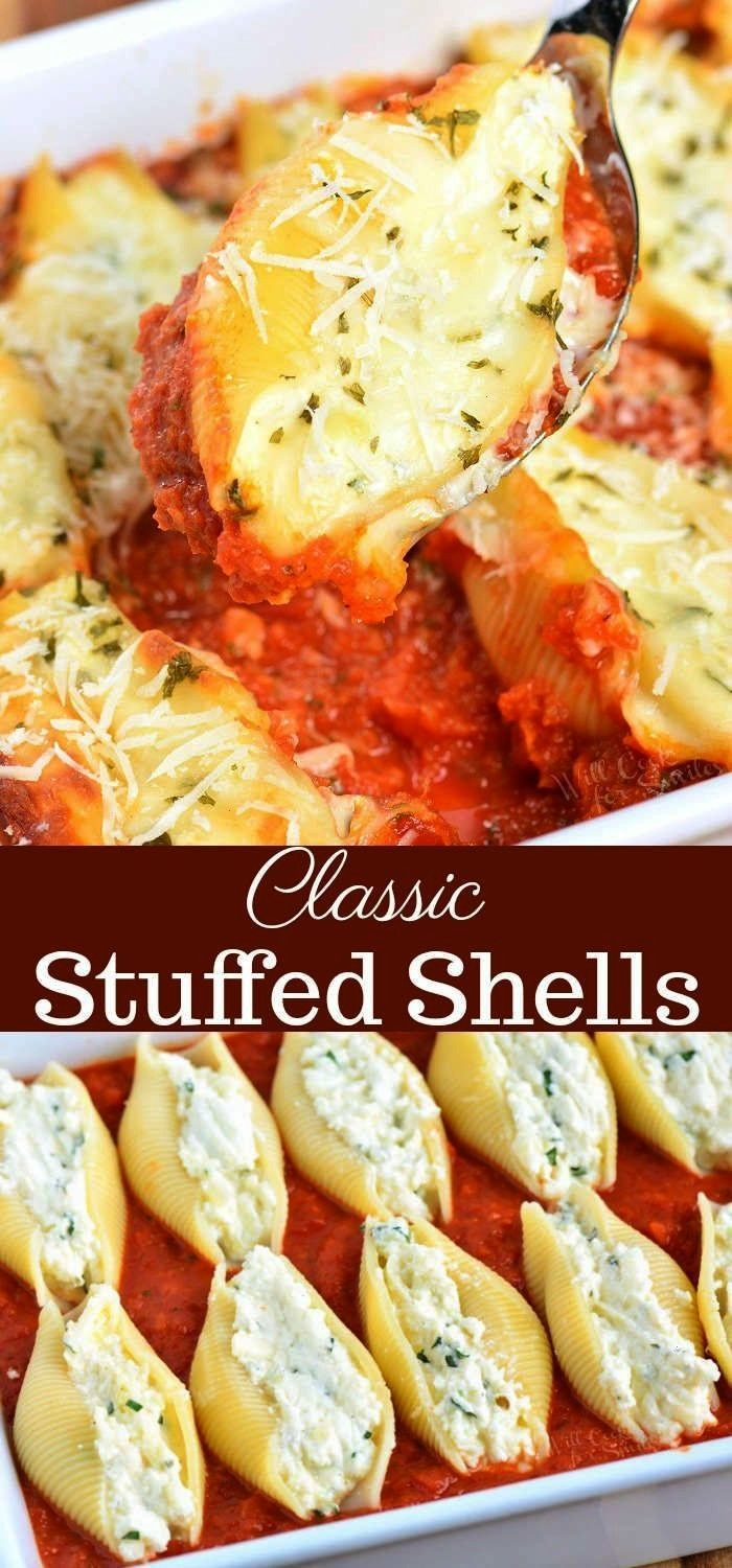 Ricotta Stuffed Shells made with flavorful three cheese ricotta filling and homemade marinara sauce