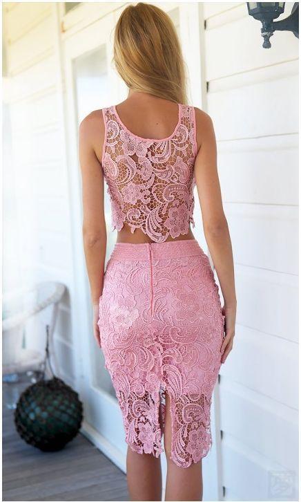 New Women Summer Boho Lace Crop tops Maxi Pencil Skirt Evening Party ...