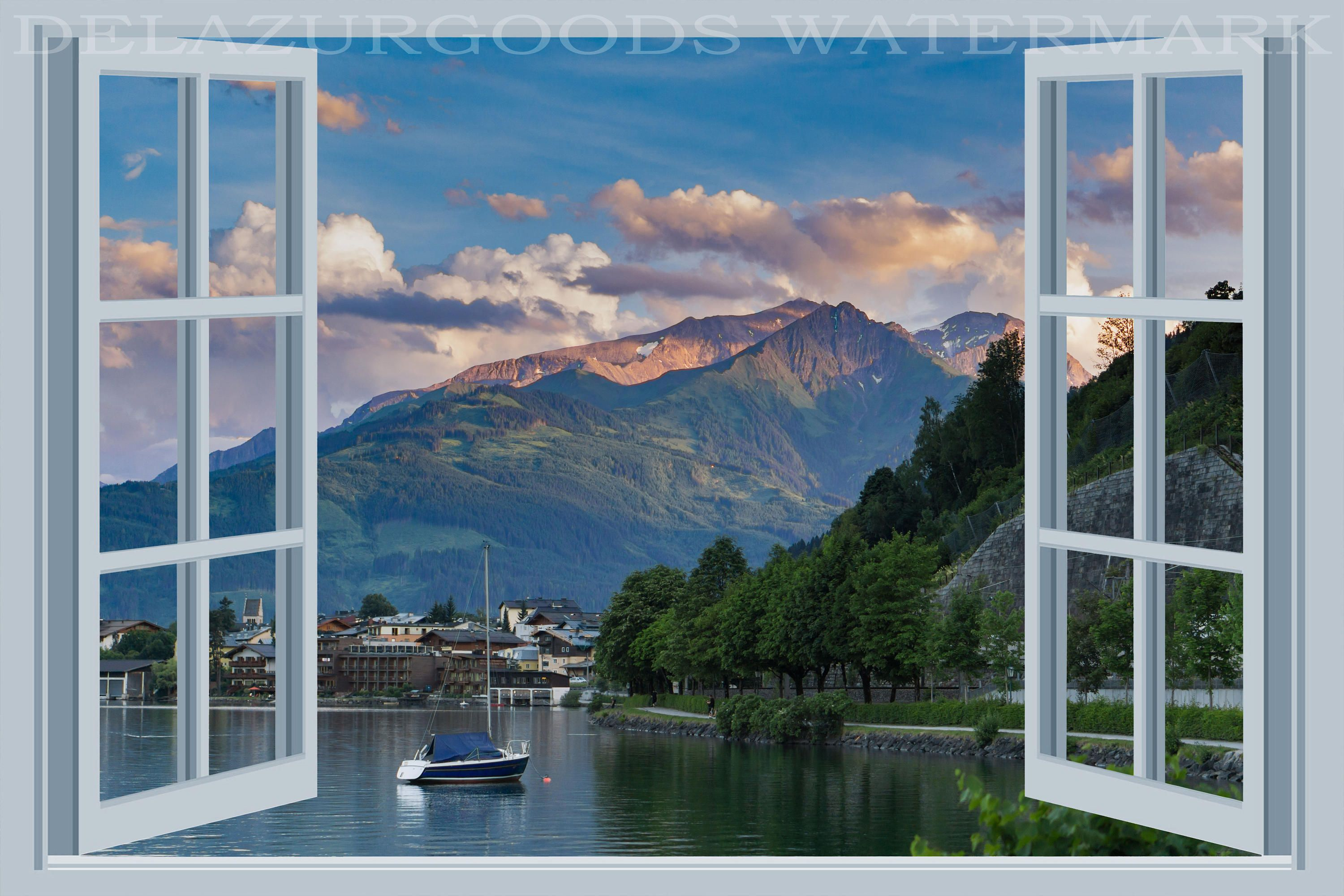 Lake Town Window View Wallpaper Peel And Stick Etsy View Wallpaper Window View Wallpaper