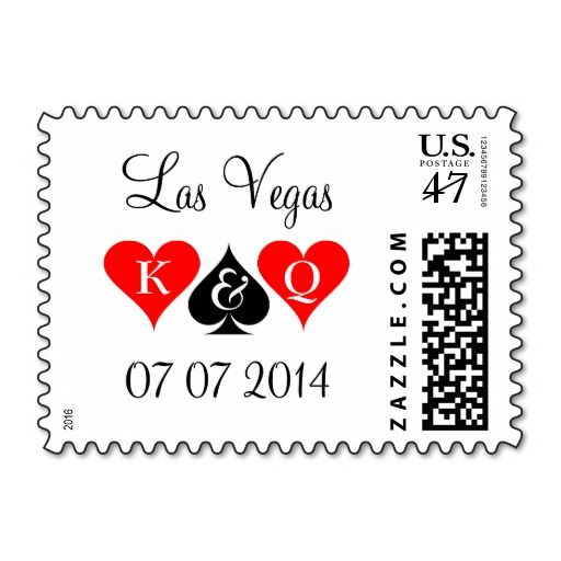 Las Vegas wedding stamps with playing card suits   Zazzle
