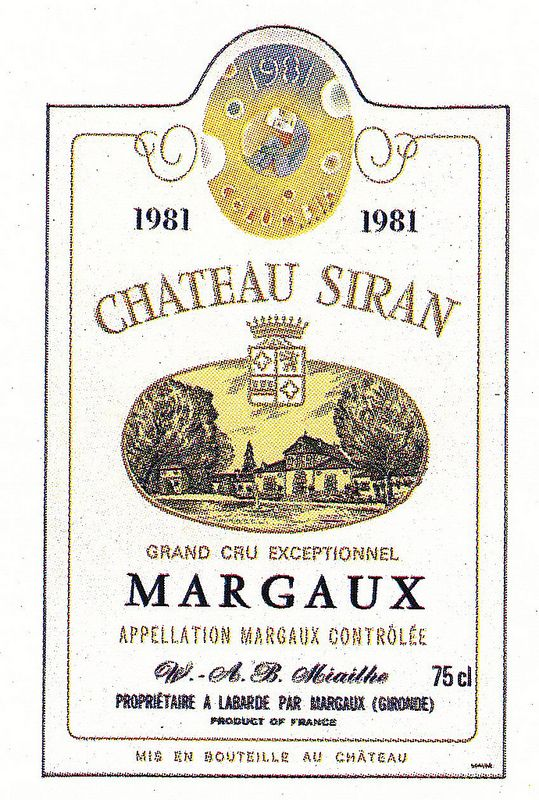 Chateau Margaux Siran 1981 French Wine Label