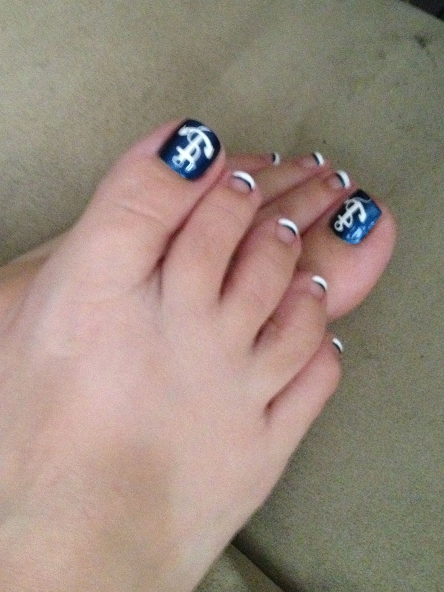 Nautical But With Blue Nails White Tips Nailed It Pinterest Blue Nails Nautical Nail Art