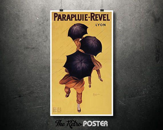 VINTAGE French PARAPLUIE REVEL Umbrellas POSTER Print