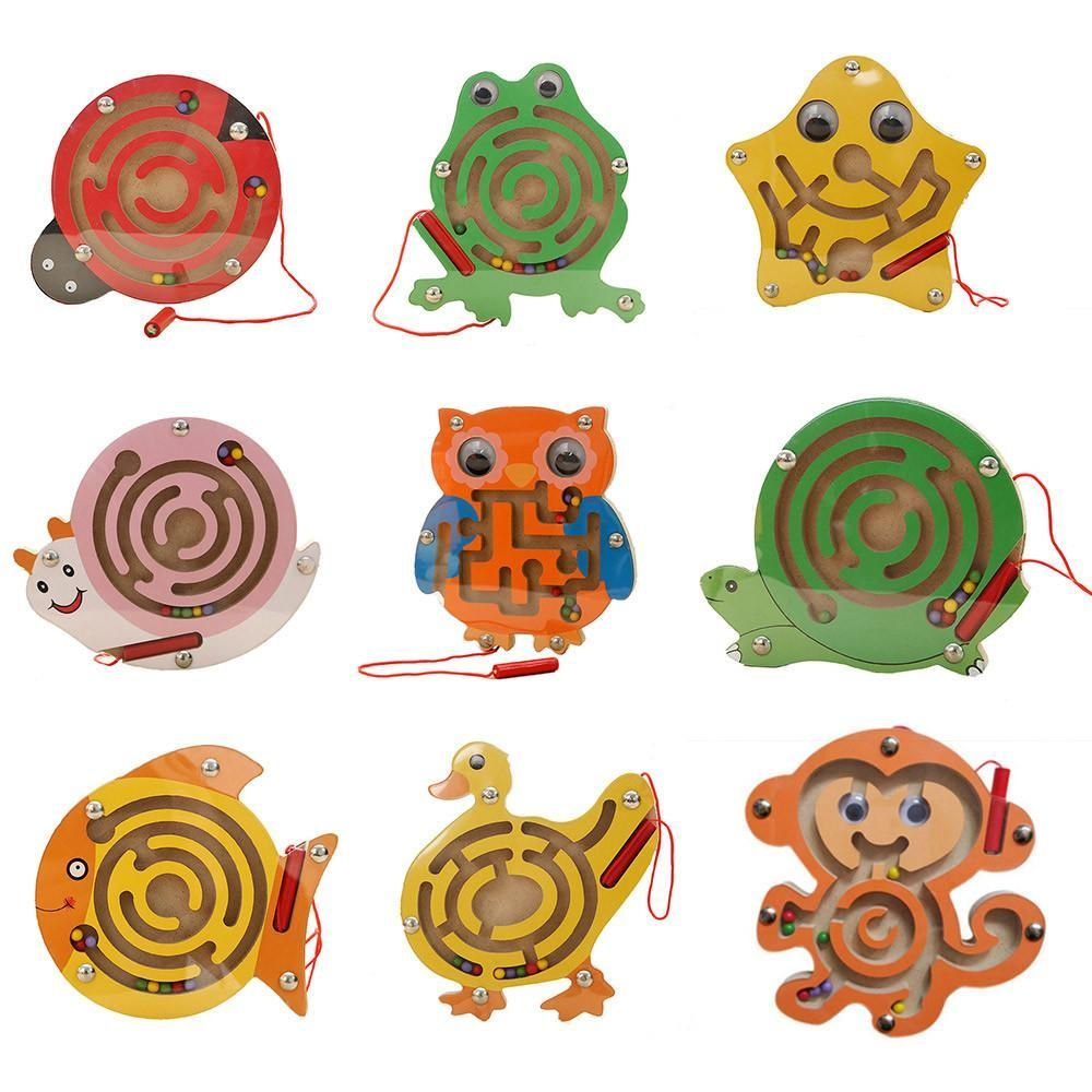 Childrenus wooden magnetic animal maze puzzles