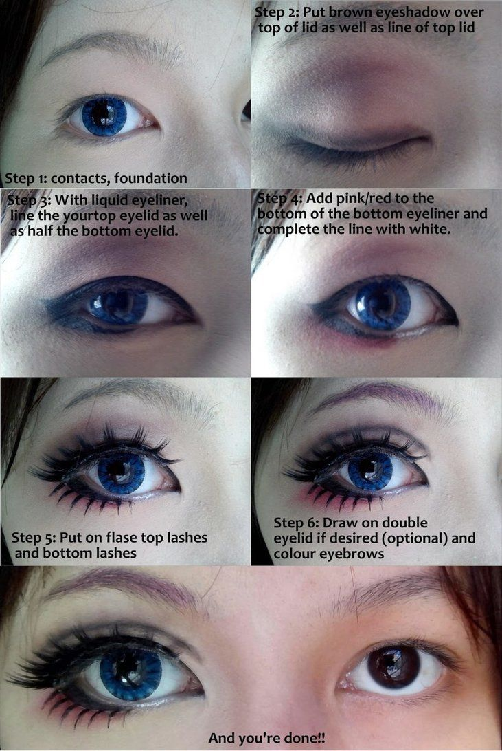 Cosplay eye makeup tutorial by wenqiann on deviantart i dont do cosplay but theres some cues on how to make eyes look bigger the half black half white