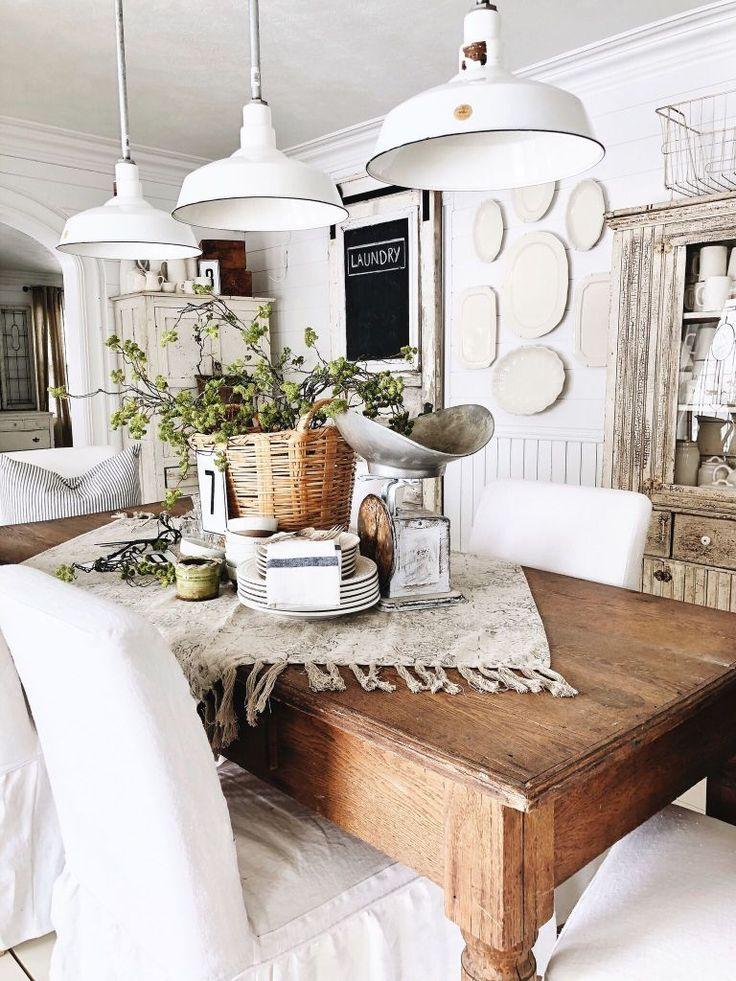 20+ Lovely White Barn Light Pendants Farmhouse dining