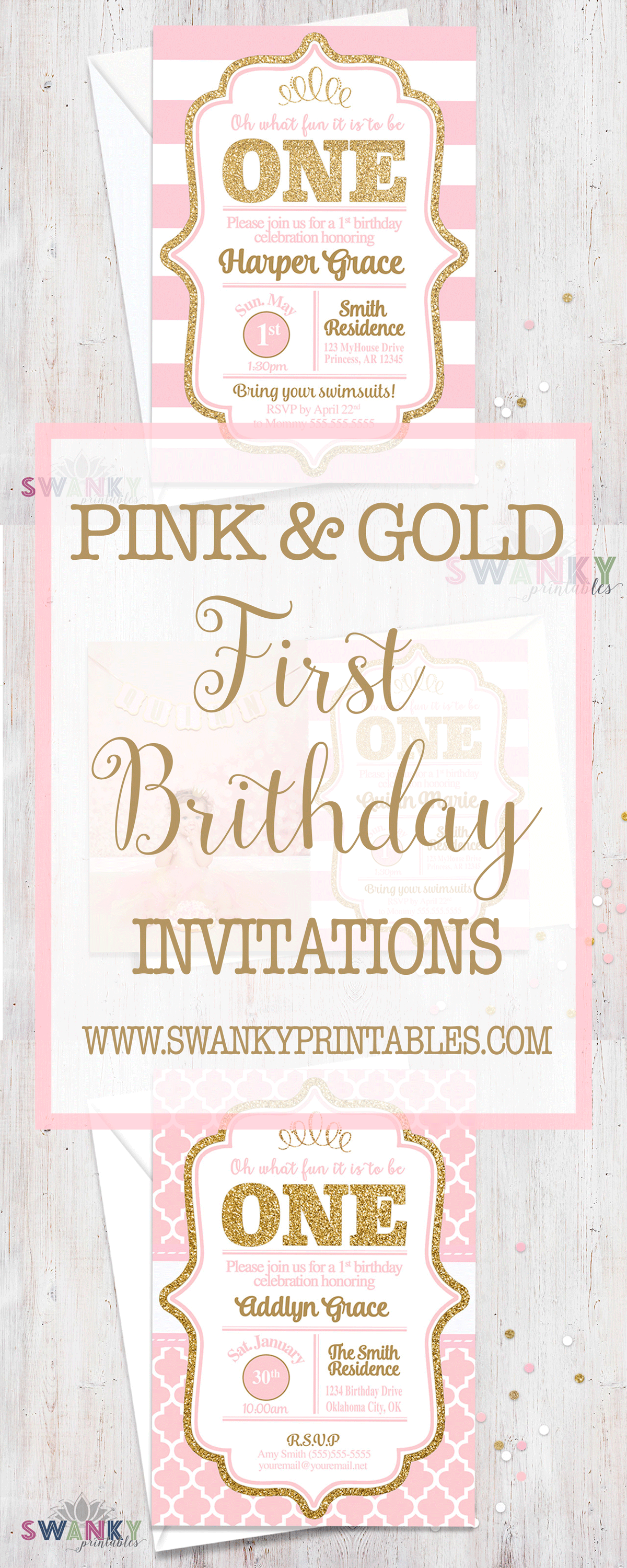 Pink and Gold First Birthday Invitations and Ideas. Girls First ...