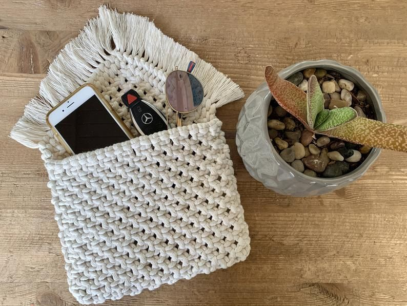 Boho Macrame embrague / bolso de algodón / flecos / Boho bolso / bolso hecho a mano / Marfil / Shabby Chic / Macrame Crossbody / Bolso  – Bolsa