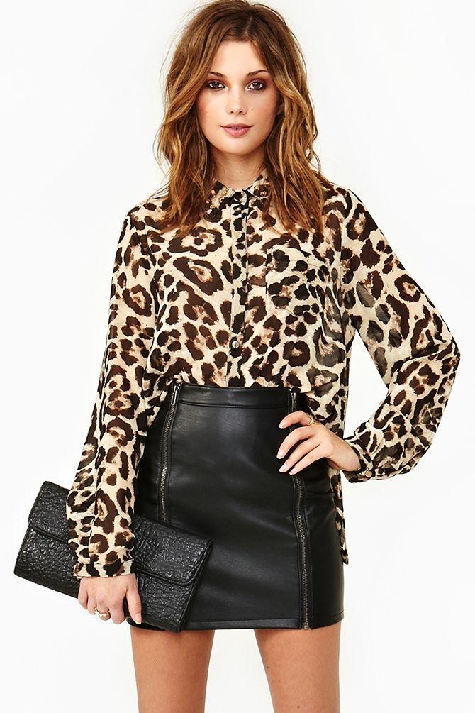 Hellcat Blouse; leopard print blouse, black leather mini skirt, envelope clutch