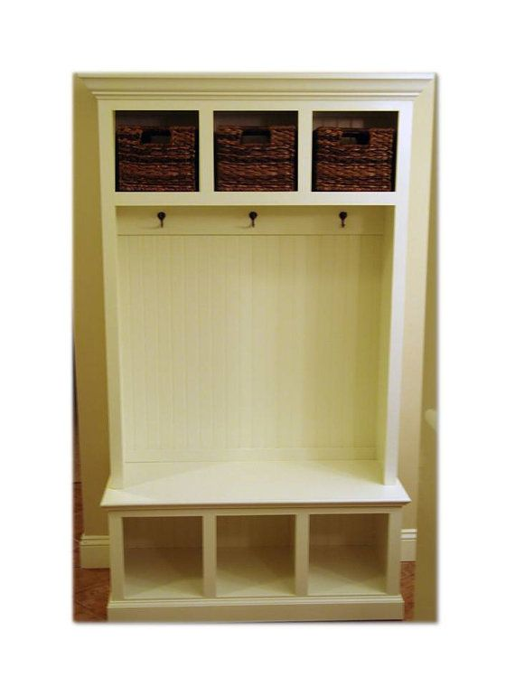 Beadboard Hall Tree With Storage Cubbies Entryway